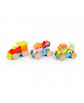 """Дерев'яна іграшка """"Поїзд з машинками"""""""