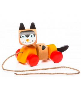 "Wooden toy ""Walk-A-Long Cat"""