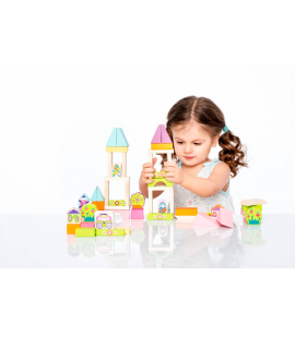 "Wooden blocks construction kit ""Town for girls"""