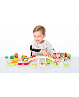 "Wooden blocks construction kit ""Town for boys"""