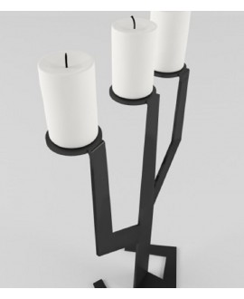 Black metal candlestick CACTUS