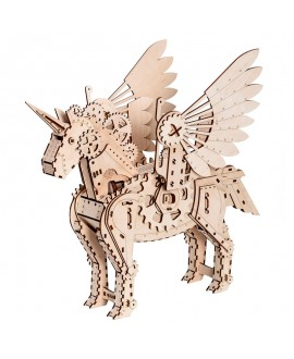 Wooden toy mechanical unicorn