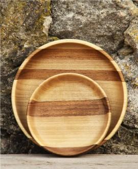 Деревянная ореховая тарелка