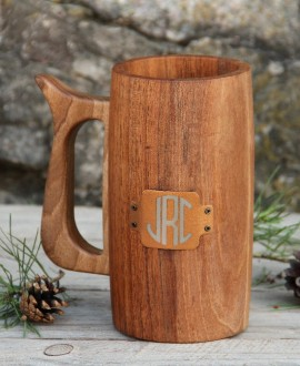 Solid wood beer glass