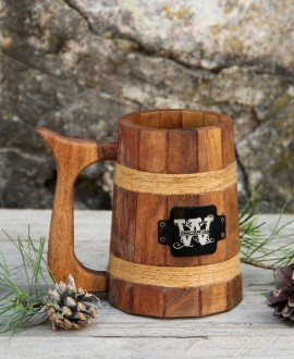 Wood conical beer mug