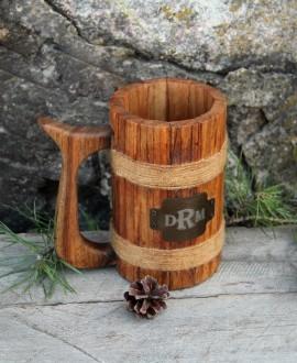 Дерев'яний пивний келих циліндричний