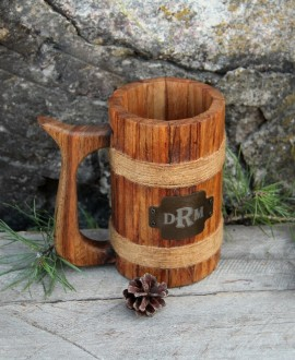 Wood cylindrical beer mug
