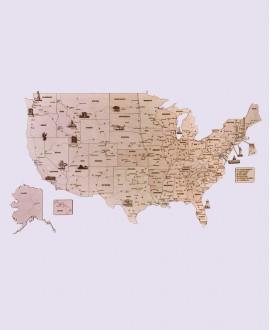 """Дерев'яний пазл """"Карта США"""""""