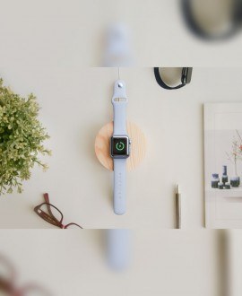 Wooden charging station for Apple Watch