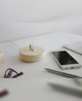 Wooden charging station for smartphone