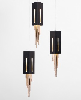 Wooden chandelier CLUSTER