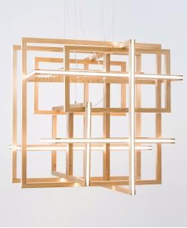 Wooden chandelier CUBE