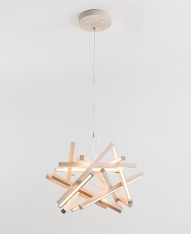 Wooden chandelier TORUS