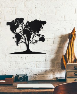 "Wooden picture ""Tree world map"""