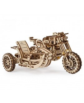 """Wooden 3D puzzle """"Motorcycle Scrambler UGR-10 with sidecar"""""""