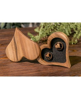 Box for rings made of wood «Heart»