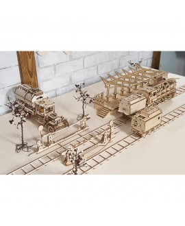 """Wooden 3D puzzle """"Rails with Crossing"""""""