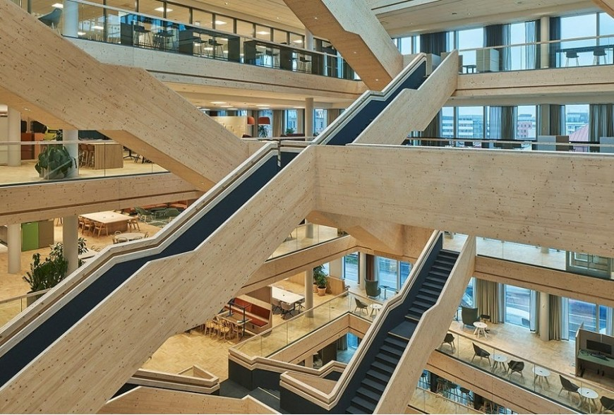 Wooden stairs for meetings